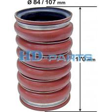 Патрубок интеркулера силиконовый, красный D100x182мм Scania HD